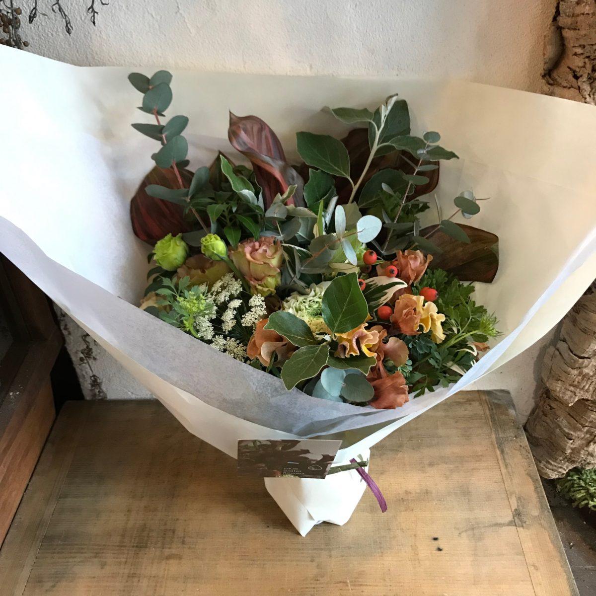 ダークブラウンの葉の花束(¥5000)